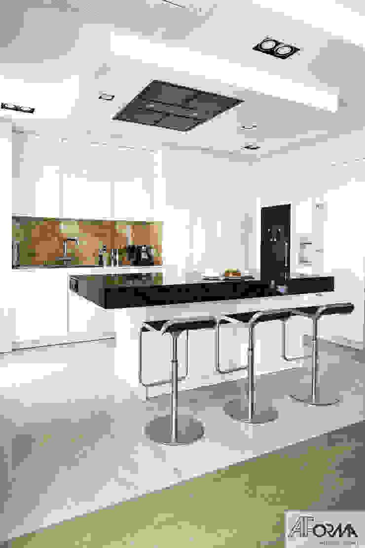 AFormA Architektura wnętrz Anna Fodemska Cocinas de estilo moderno Mármol Blanco