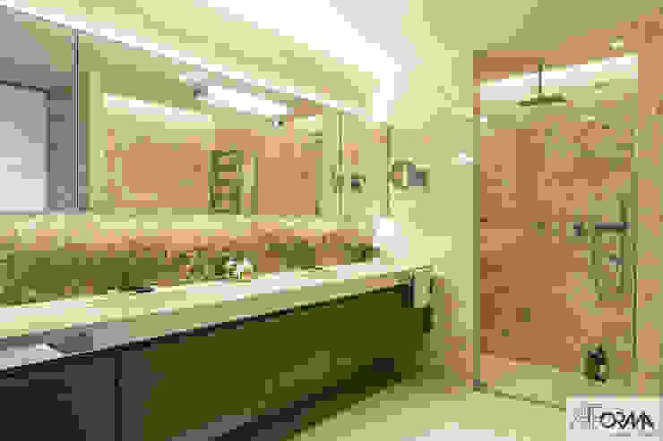 AFormA Architektura wnętrz Anna Fodemska Salle de bain moderne Pierre Beige