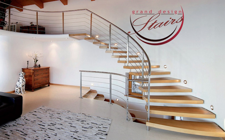 Floating Curved Staircase Los Angeles by Grand Design Stairs Modern