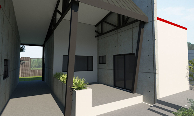 Granny Flat Patio Modern style balcony, porch & terrace by A4AC Architects Modern Iron/Steel