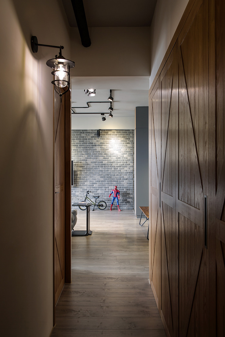 industrial style corridor, hallway & stairs by 詩賦室內設計 Industrial