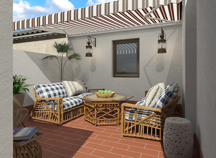 Terraza mediterránea Balcones y terrazas de estilo mediterráneo de Glancing EYE - Asesoramiento y decoración en diseños 3D Mediterráneo