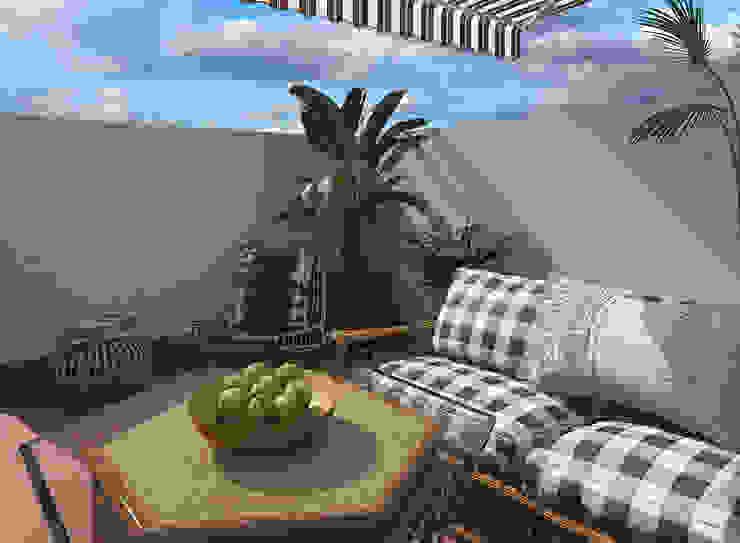 Diseño 3D Balcones y terrazas de estilo mediterráneo de Glancing EYE - Asesoramiento y decoración en diseños 3D Mediterráneo