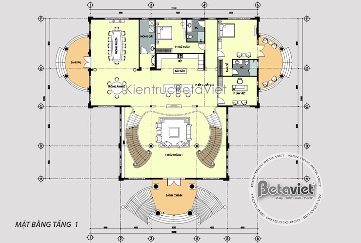 Mặt bằng tầng 1 lâu đài dinh thự Tân cổ điển đẹp (CĐT: Ông Khánh - Bắc Giang) KT18068B bởi Công Ty CP Kiến Trúc và Xây Dựng Betaviet