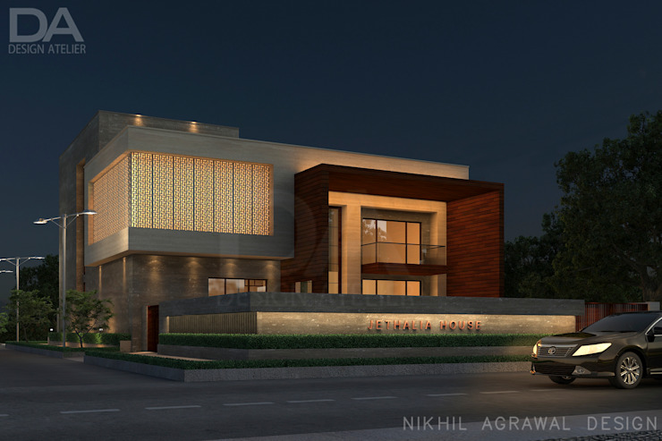 Bungalow in Beawar(Rajasthan,IN)- Exterior house elevation and Facades Modern houses by Design Atelier Modern