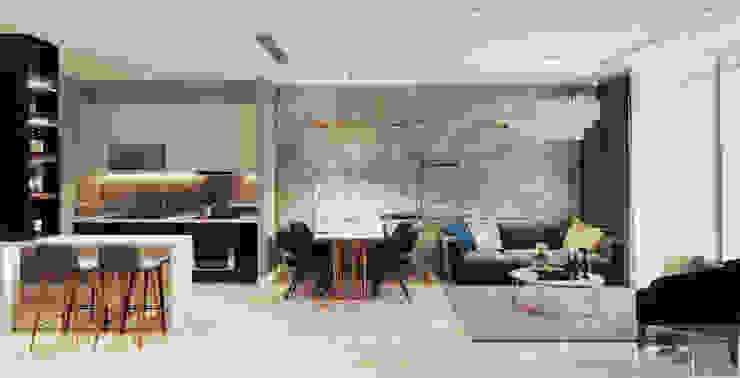 Sang trọng đẳng cấp với nội thất mạ Titan trong căn hộ Vinhomes Golden River Phòng ăn phong cách hiện đại bởi ICON INTERIOR Hiện đại