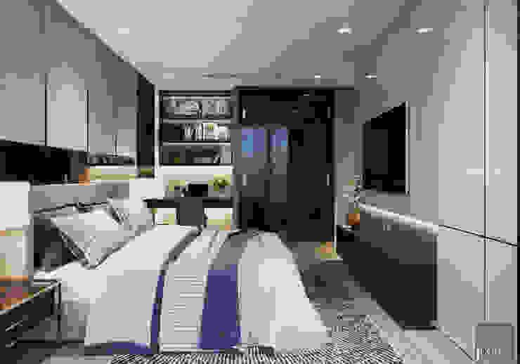 Sang trọng đẳng cấp với nội thất mạ Titan trong căn hộ Vinhomes Golden River Phòng ngủ phong cách hiện đại bởi ICON INTERIOR Hiện đại