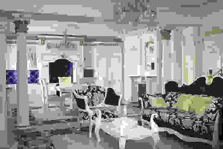 Гостиная и кухня в стиле барокко студия Design3F Кухня в классическом стиле Белый