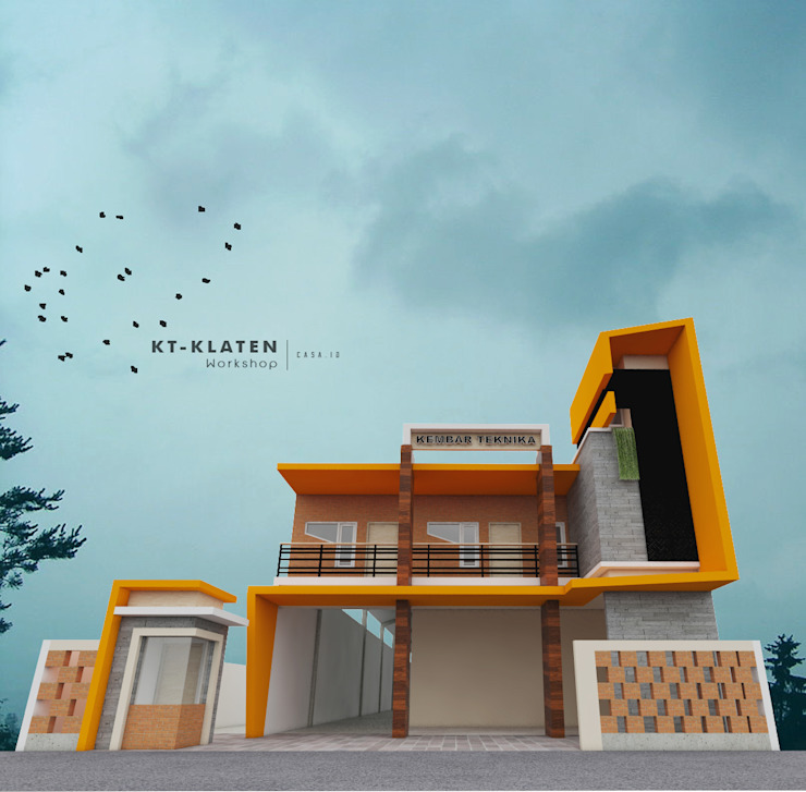 CASA.ID ARCHITECTS Industrial style office buildings Iron/Steel Orange