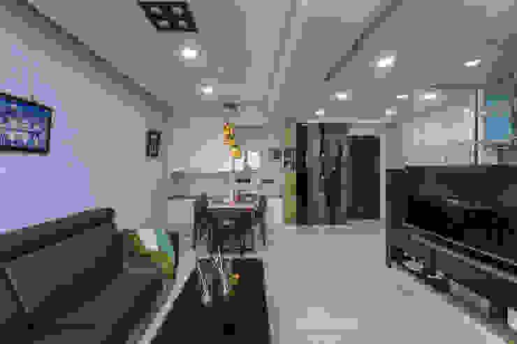 台南吳公館 现代客厅設計點子、靈感 & 圖片 根據 隅寓空間製作 現代風 木頭 Wood effect