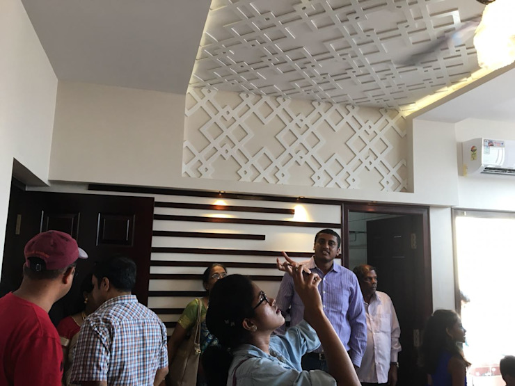 False Ceiling with Gypsum Board and CNC Designed , Duco Painted MDF: modern  by Interiorwalaa,Modern MDF