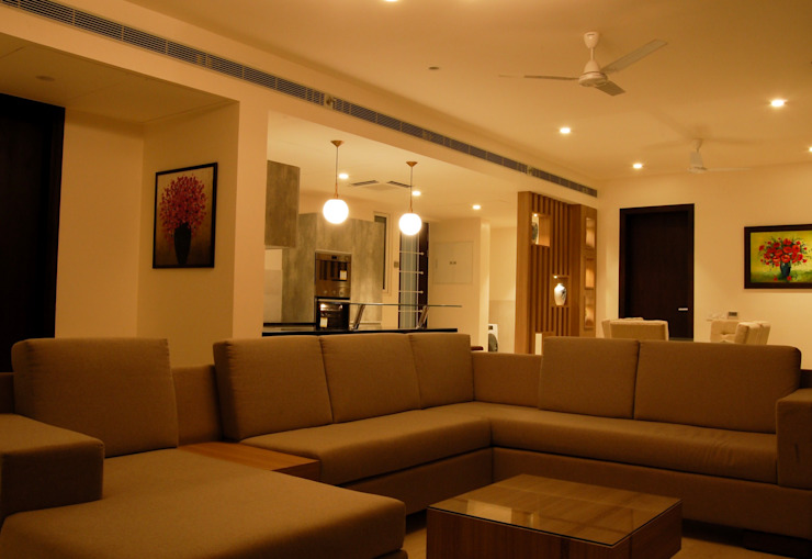 Apartment interiors- MRCNagar, Chennai Modern Living Room by Synergy Architecture and Interiors Modern