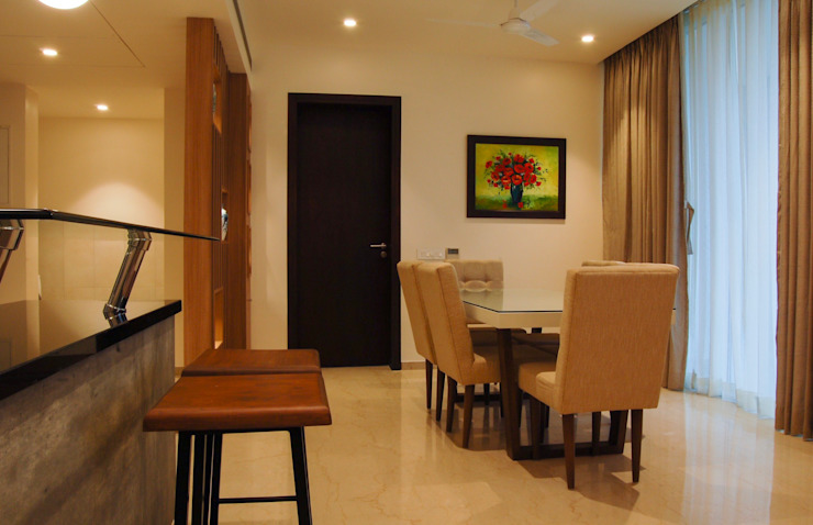 Apartment interiors- MRCNagar, Chennai Modern Dining Room by Synergy Architecture and Interiors Modern