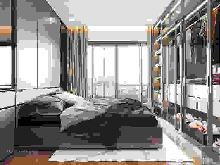 THIẾT KẾ NỘI THẤT CĂN HỘ HIỆN ĐẠI TẠI CĂN HỘ LANDMARK 81 Phòng ngủ phong cách hiện đại bởi ICON INTERIOR Hiện đại