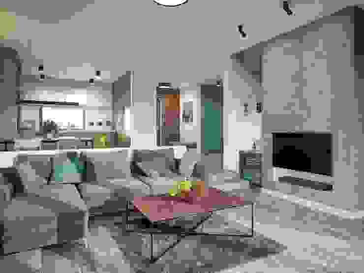 Sala con televisión estilo moderno Salas modernas de Carolina Torres Arzamendi Moderno Concreto