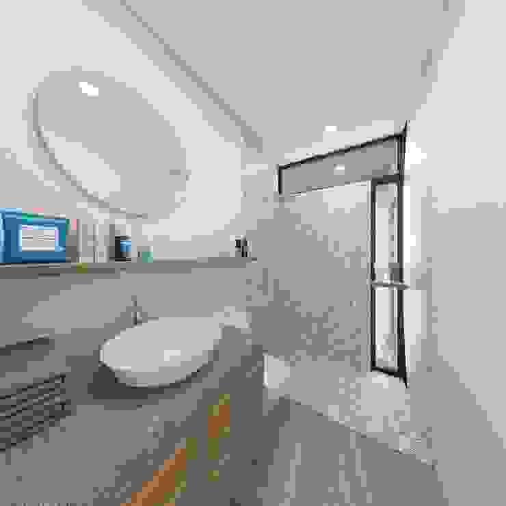 Baño bloque Azul Baños de estilo minimalista de Taller Veinte Minimalista