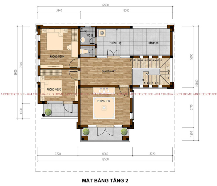 Biệt thự hiện đại mái thái bởi Công ty CP kiến trúc và xây dựng Eco Home