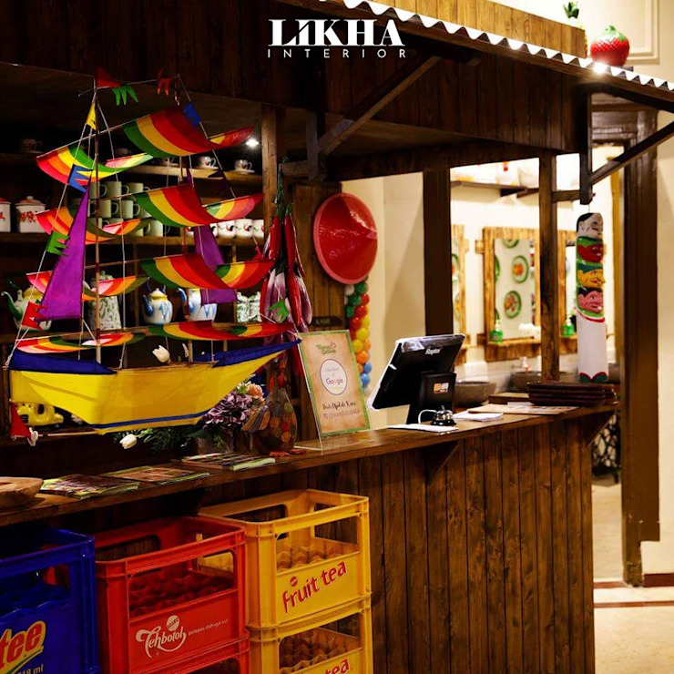 Likha Interior Gastronomia in stile asiatico Compensato Marrone