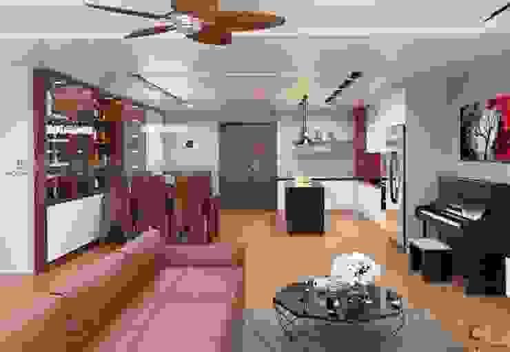 Tổ hợp không gian mở: phòng khách, phòng bếp và phòng ăn homify Phòng khách