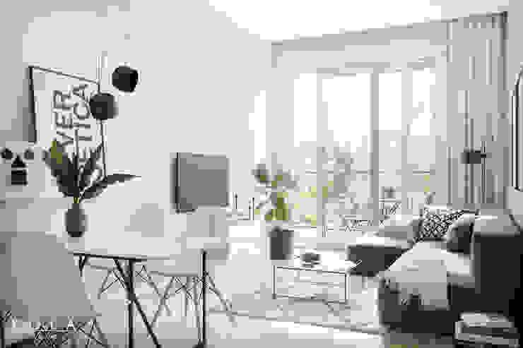 Scandinavian livingroom / Salon w stylu skandynawskim Skandynawski salon od Kola Studio Architectural Visualisation Skandynawski