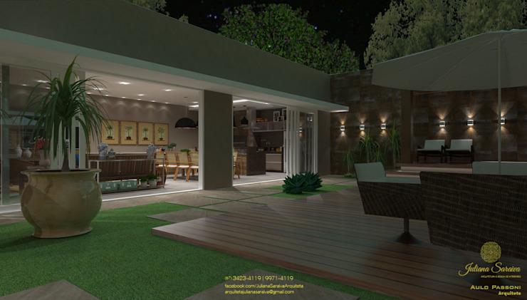 Espaço de lazer Jardins modernos por Juliana Saraiva Arquitetura & Interiores Moderno