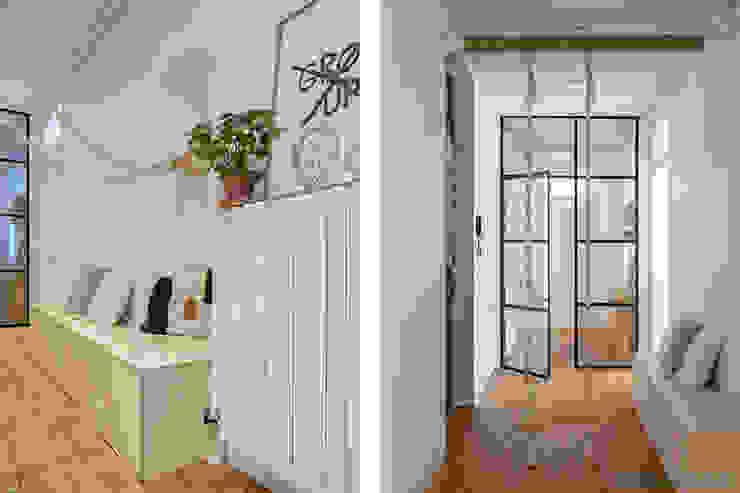 Banc d'entrée Couloir, entrée, escaliers scandinaves par SOHA CONCEPTION Scandinave Bois Effet bois