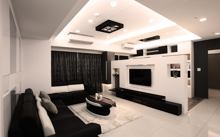 京都W宅 现代客厅設計點子、靈感 & 圖片 根據 力豪設計 現代風