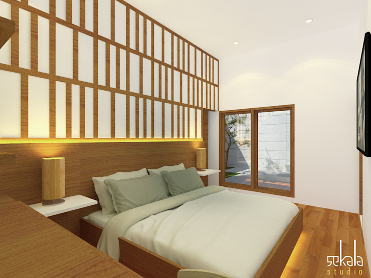Rumah Ibu Siska Kamar Tidur Modern Oleh SEKALA Studio Modern Kayu Wood effect