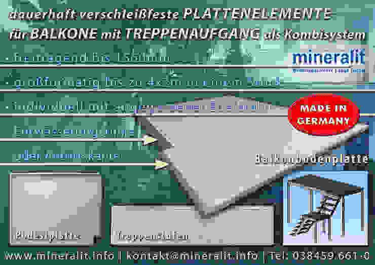 Balcones y terrazas de estilo moderno de Mineralit - Mineralgusswerk Laage GmbH Moderno Concreto