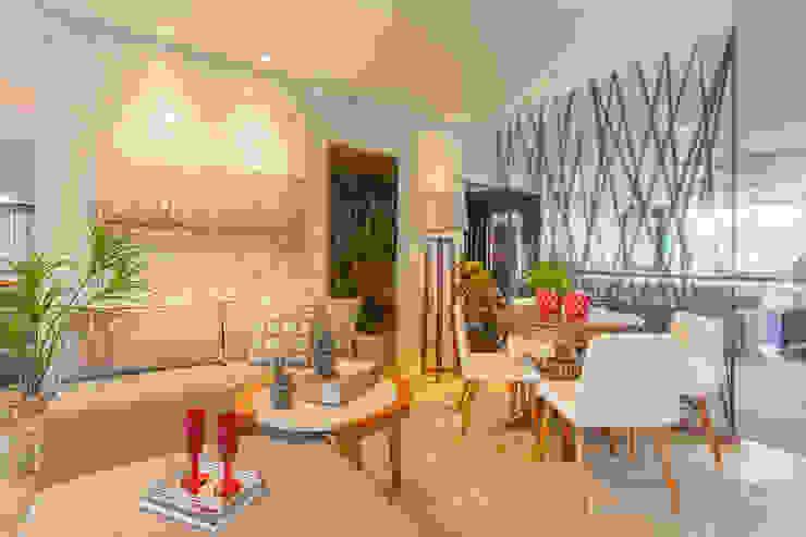 Sala Estar e Jantar Compacta! por Sgabello Interiores Moderno Algodão Vermelho