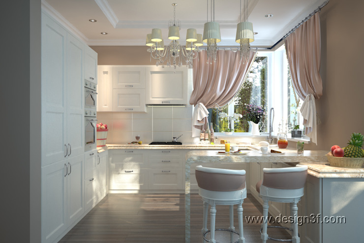 Кухня и столовая классика студия Design3F Кухня в классическом стиле