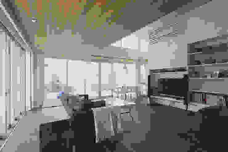 ミドセンチュリーテイスト 居間がテラスと一体化して繋がる成城の住まい モダンデザインの リビング の JWA,Jun Watanabe & Associates モダン