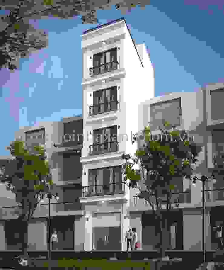 Thi công trọn gói nhà ở 5 tầng 1 tum bởi Công ty TNHH Xây dựng và Phát triển Ngôi Nhà Xanh Hiện đại