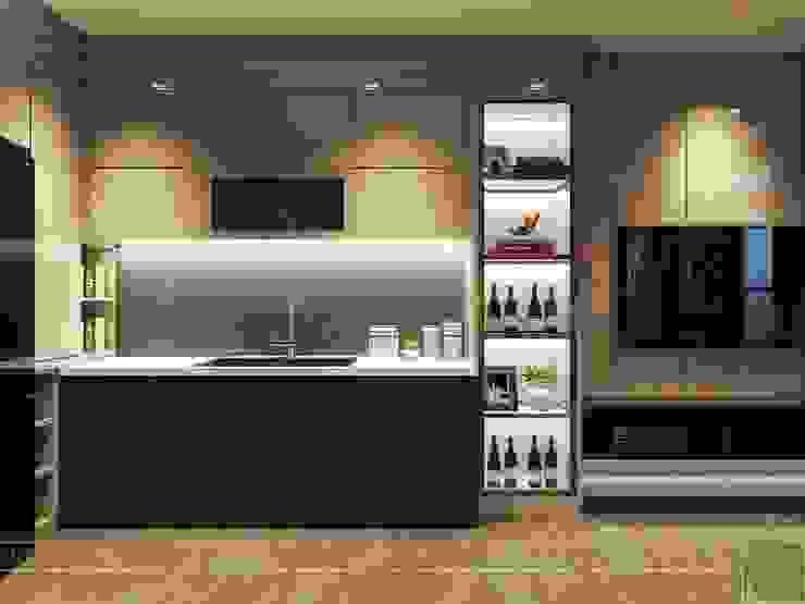 Thiết kế nội thất hiện đại tinh tế ở căn hộ Vinhomes Central Park Nhà bếp phong cách hiện đại bởi ICON INTERIOR Hiện đại