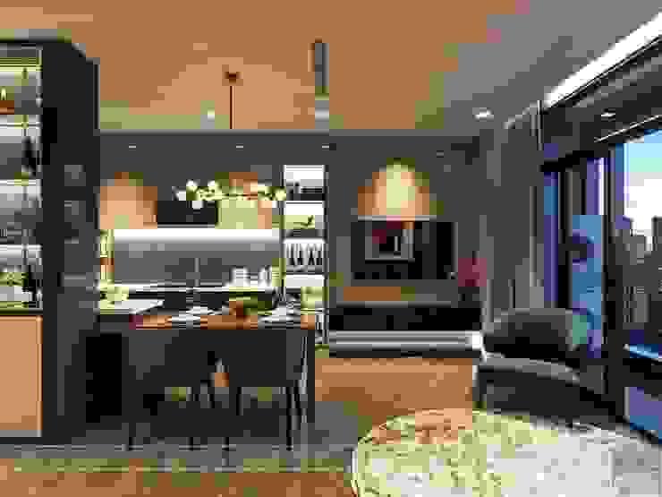 Thiết kế nội thất hiện đại tinh tế ở căn hộ Vinhomes Central Park Phòng ăn phong cách hiện đại bởi ICON INTERIOR Hiện đại