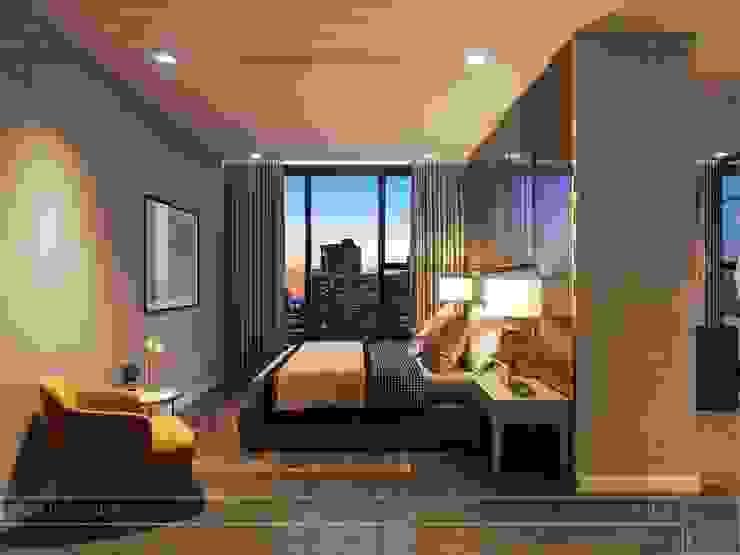 Thiết kế nội thất hiện đại tinh tế ở căn hộ Vinhomes Central Park Phòng ngủ phong cách hiện đại bởi ICON INTERIOR Hiện đại