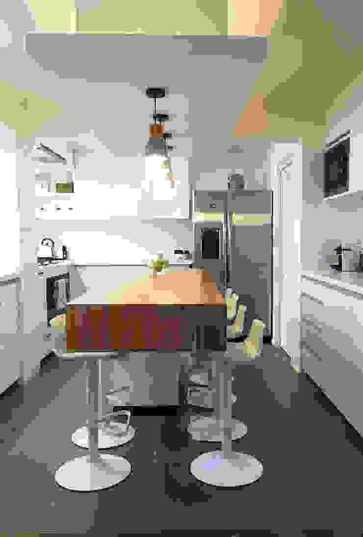 Diseño y Fabricación Mobiliario Cocina: Cocina se Amplió al doble de su dimensión original Cocinas de estilo moderno de Estudio Mínimo Arquitectura y Construcción Ltda. Moderno