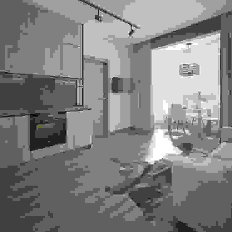Природные цвета в интерьере квартиры в Сочи Alt дизайн Кухня в скандинавском стиле Дерево Коричневый