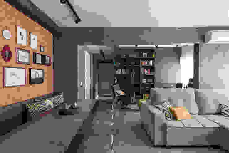 Jantar e estar integrados Salas de estar rústicas por Rabisco Arquitetura Rústico Concreto
