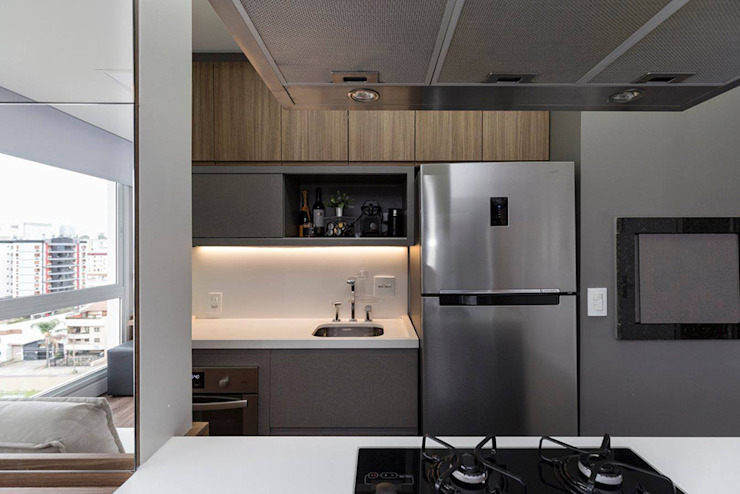 Rabisco Arquitetura Small kitchens MDF Wood effect