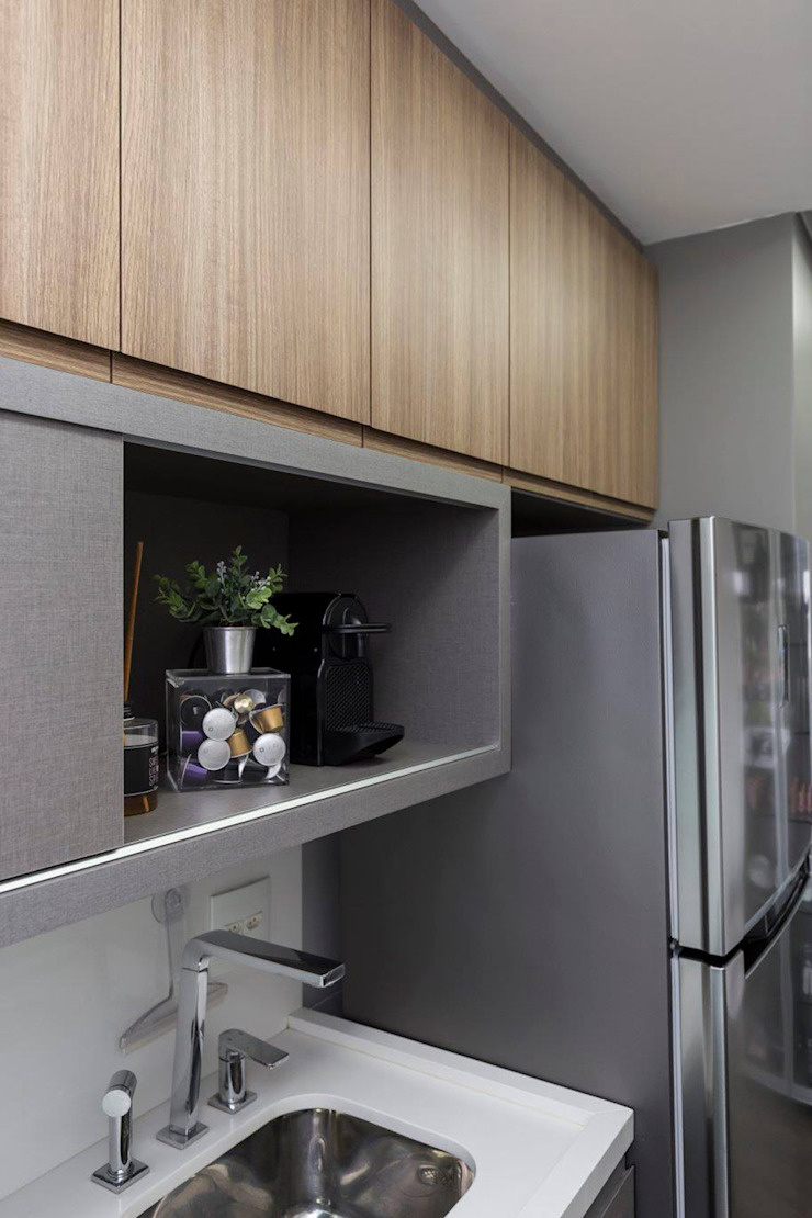 Rabisco Arquitetura Small kitchens MDF Grey