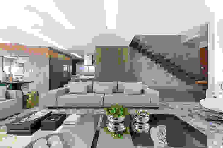 Rabisco Arquitetura Modern living room Wood Grey