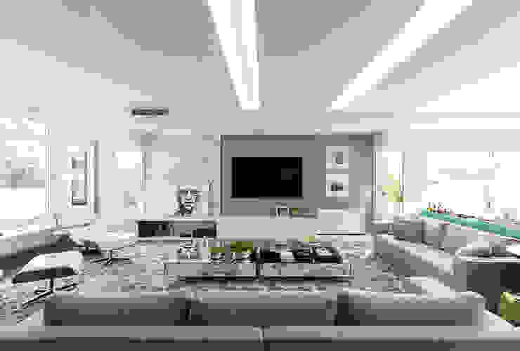Rabisco Arquitetura Modern living room Marble White