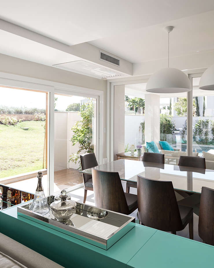 Rabisco Arquitetura Modern living room MDF Turquoise