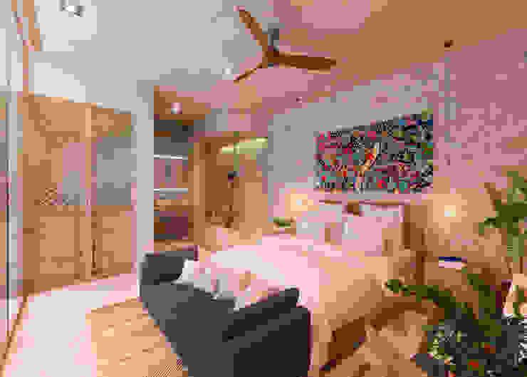 CASA LARA, TULUM, QUINTANA ROO, MÉXICO. Obed Clemente Arquitecto Dormitorios tropicales Piedra Beige