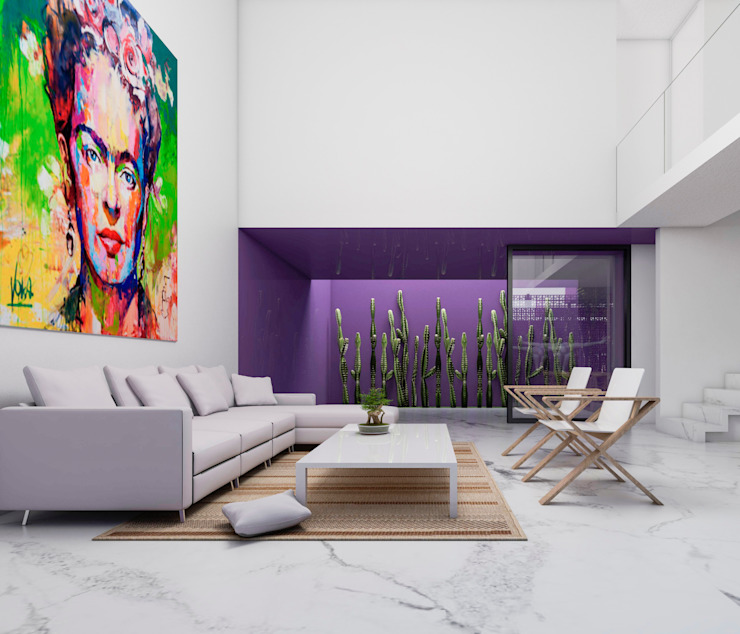 Obed Clemente Arquitecto Living room Concrete Multicolored