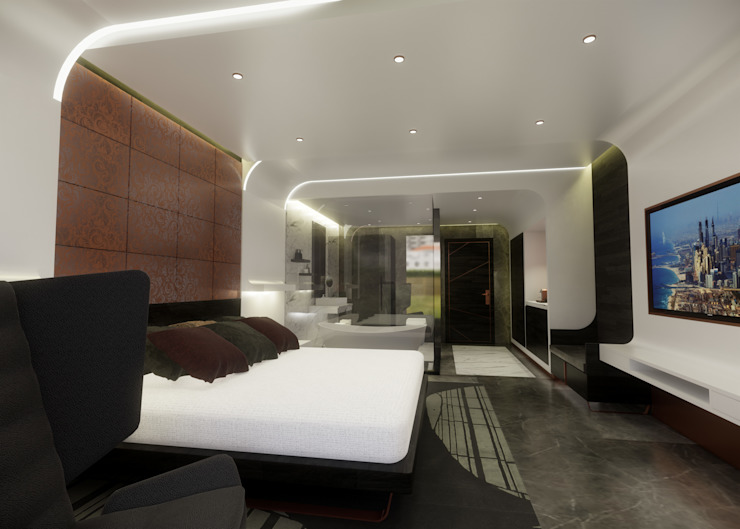 5 Star Hotel Deluxe Room Modern hotels by TheeAe Architects Modern