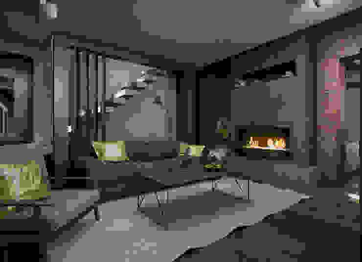 Загородный дом в стиле лофт Гостиная в стиле лофт от Alt дизайн Лофт Бетон