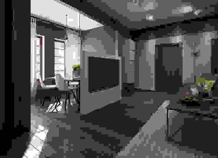 Загородный дом в стиле лофт Гостиная в стиле лофт от Alt дизайн Лофт Дерево Эффект древесины