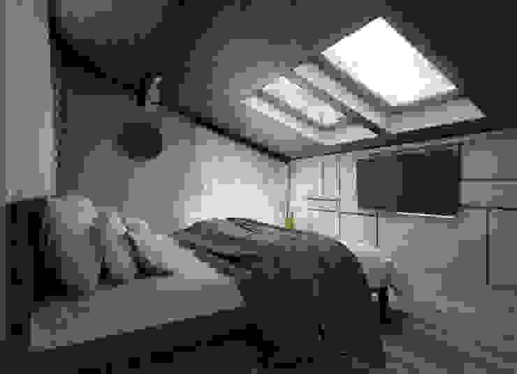 Загородный дом в стиле лофт Спальня в стиле лофт от Alt дизайн Лофт Дерево Эффект древесины